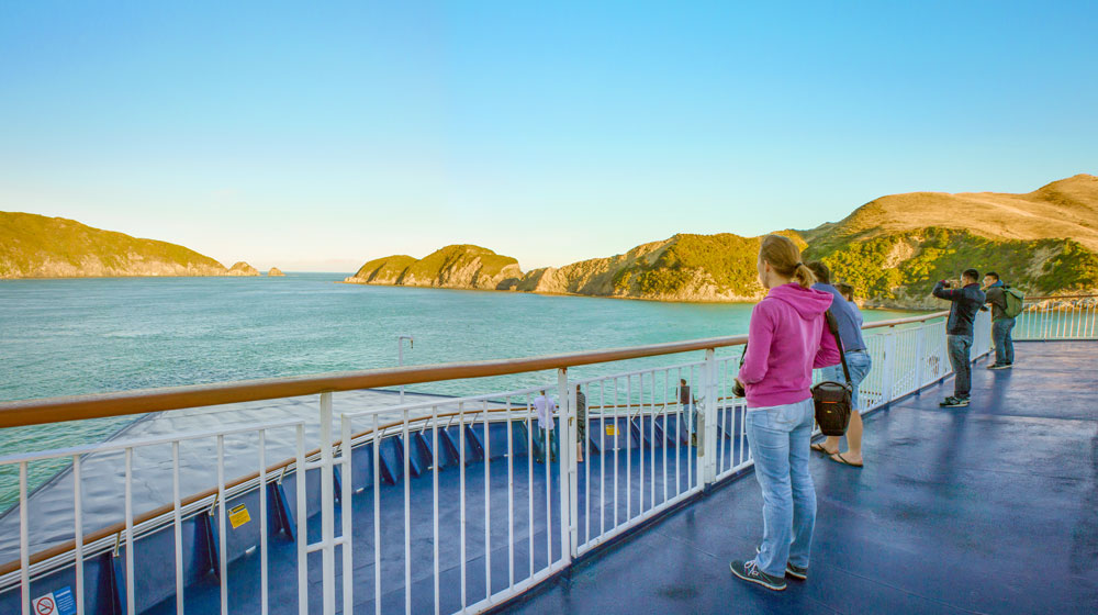 View from the bow of our Cook Strait ferry leaving the Tory Channel between