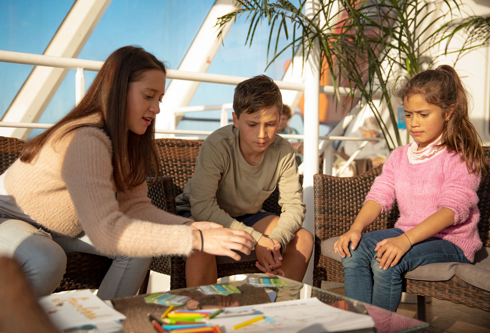 Kids playing games together on an Interislander ferry