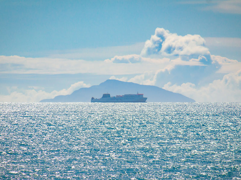 Interislander sailing past Kapiti island on the Cook Strait crossing