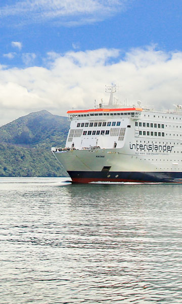 Kaitaki Cook Strait ferry in the Marlborough Sounds