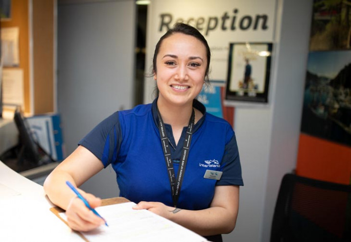 Interislander Onboard Crew Alyssa Mitchell at reception on Kaitaki 730x504