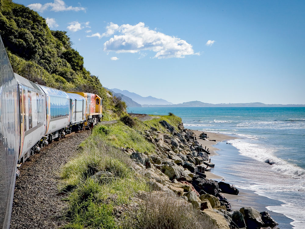 Coastal Pacific train to Christchurch travels along spectacular coastline