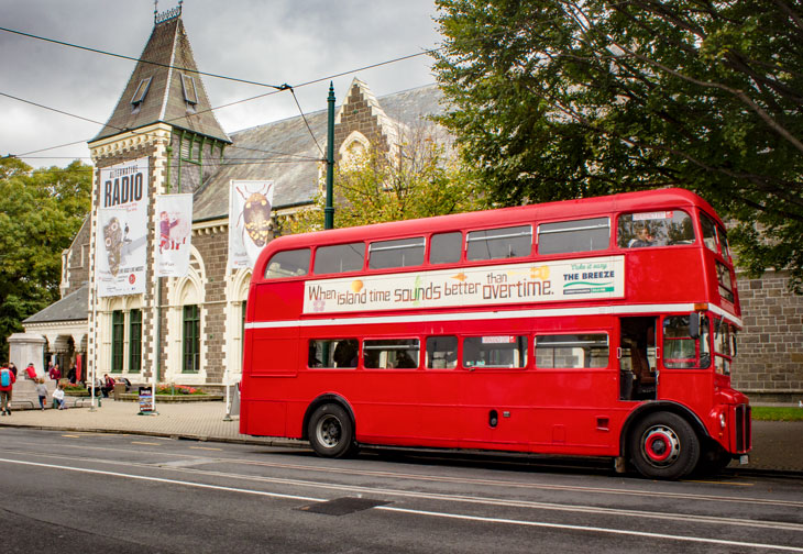 Red Bus leaving museum 730x504