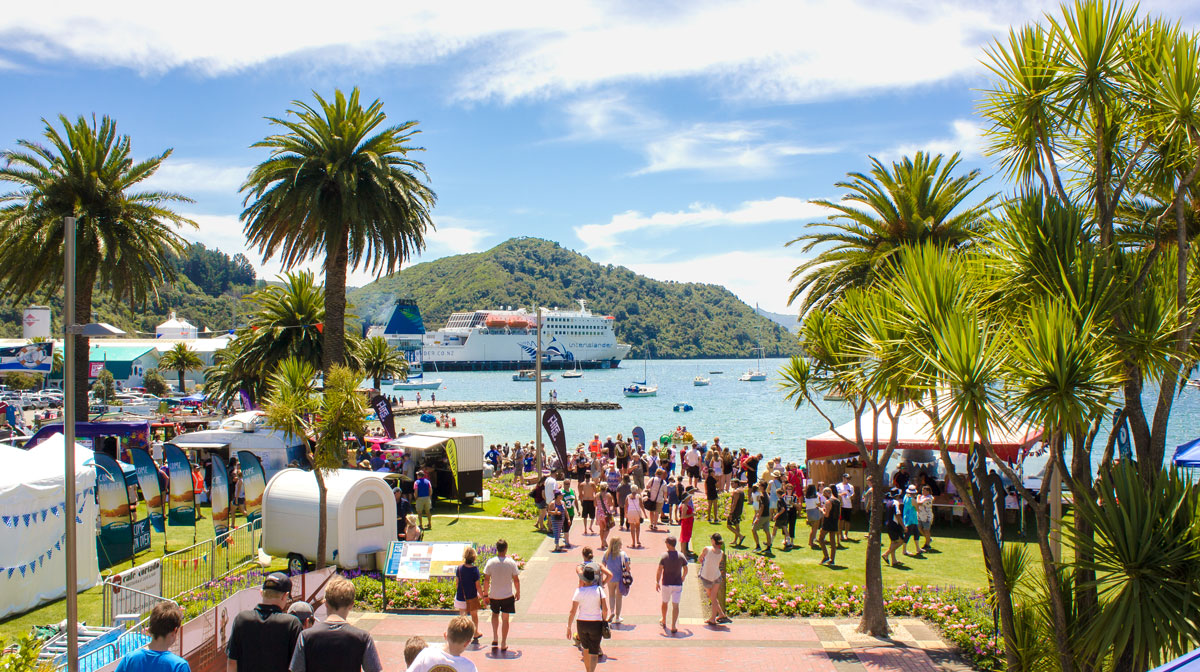 Picton Maritime Festival with Interislander in the background