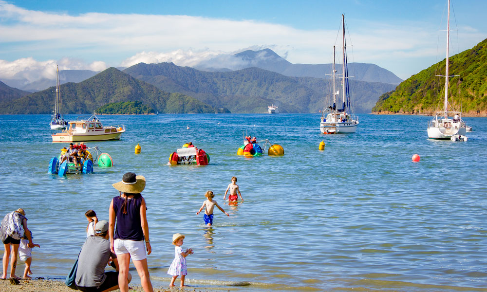 Playing in the sea at Picton Maritim Festival