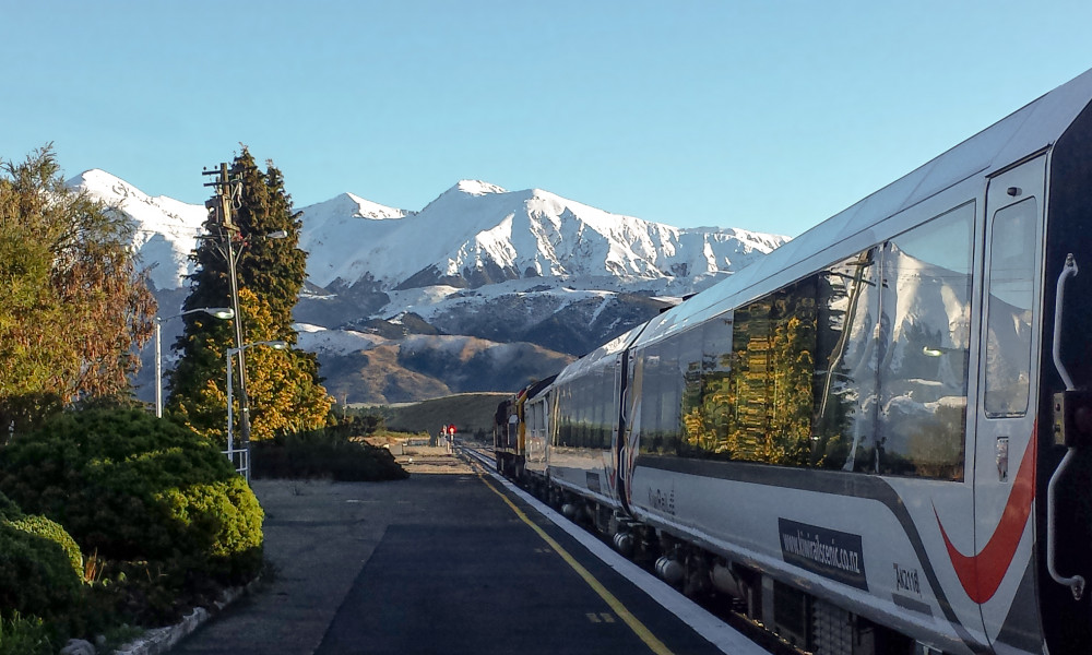 view of the Southern Alps from the TranzAlpine at Springfield