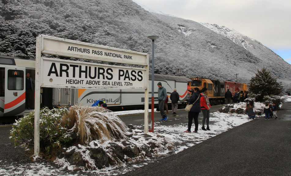 Arthurs Pass train station in the snow