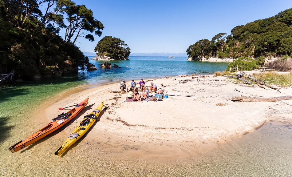 Group kayaking Abel Tasman in Nelson Tasman