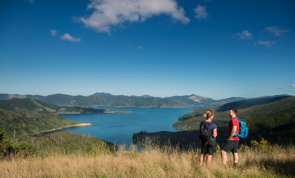 Couple walking the Queen Charlotte Track