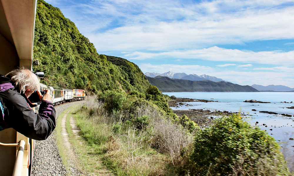 view from the viewing carriage on board the Coastal Pacific train south of Kaikoura