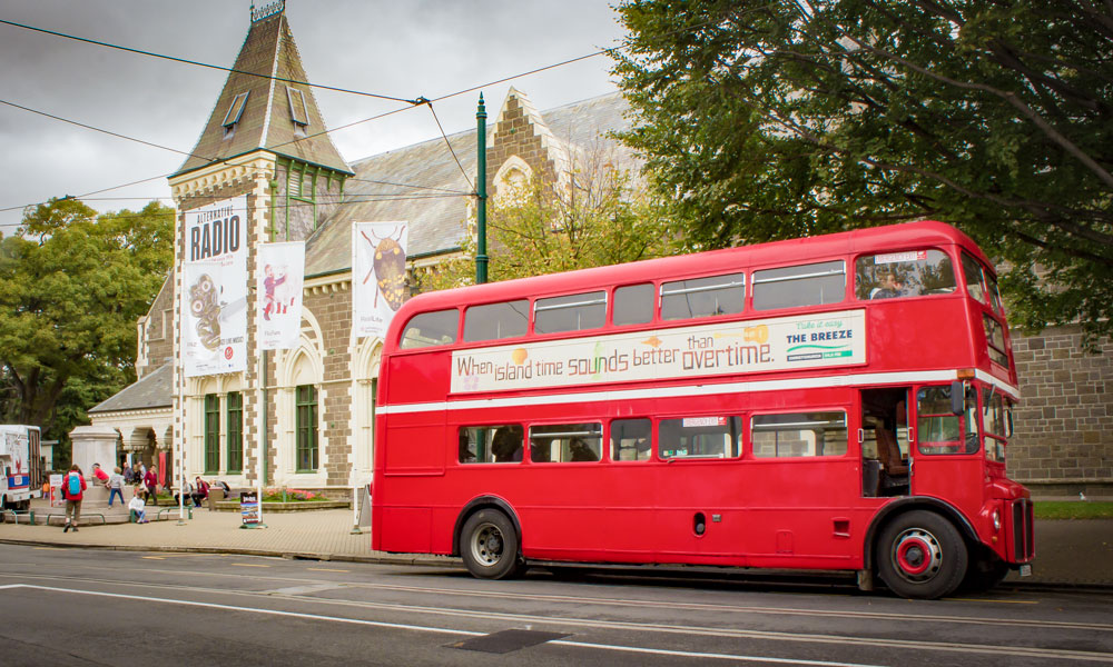 London Routemaster buses offer sightseeing tours around Christchurch