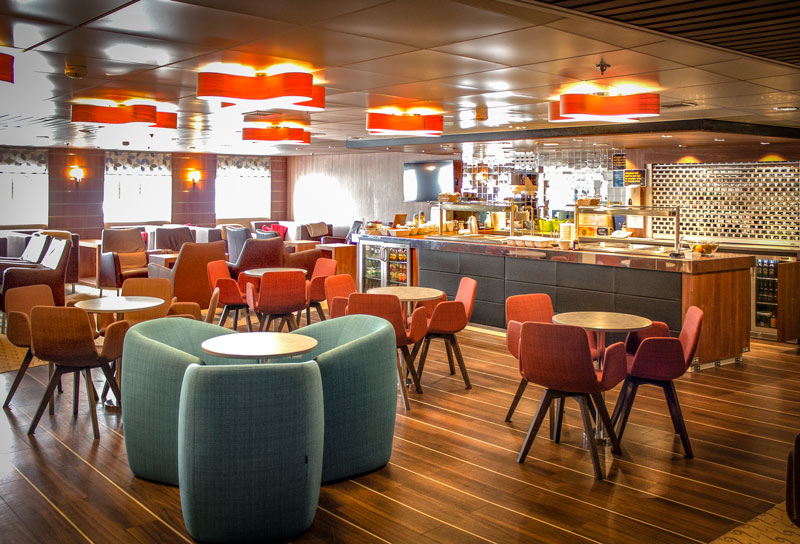 Enjoy smart surroundings in Kaiarahi's Plus Lounge as you cross Cook Strait