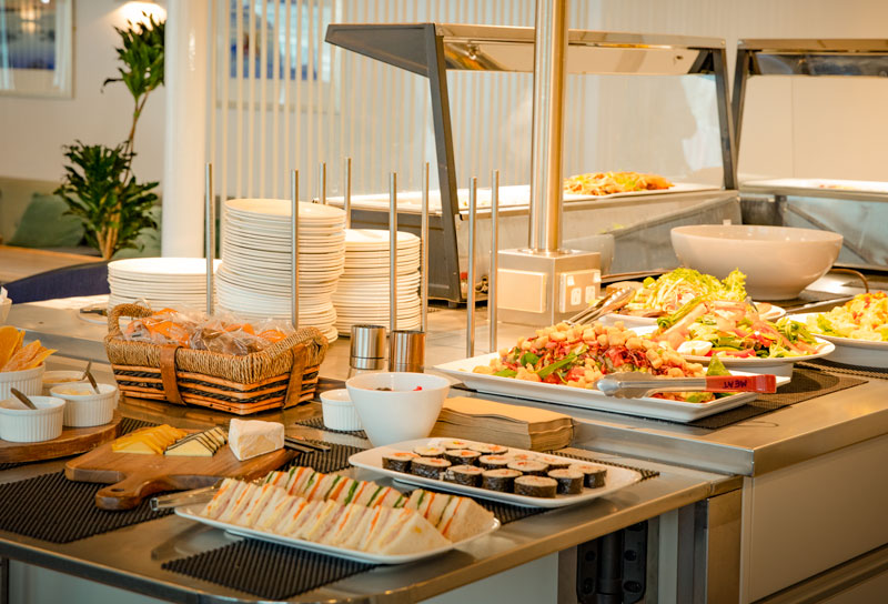 the buffet island on Kaitaki serves up a great selection of food