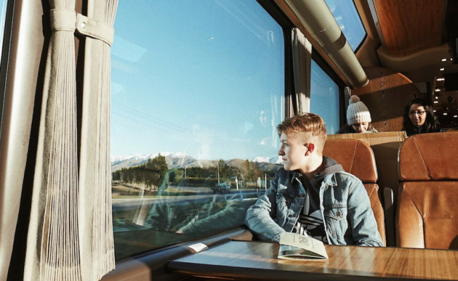 Mr Izzyboy on the TranzAlpine train journey