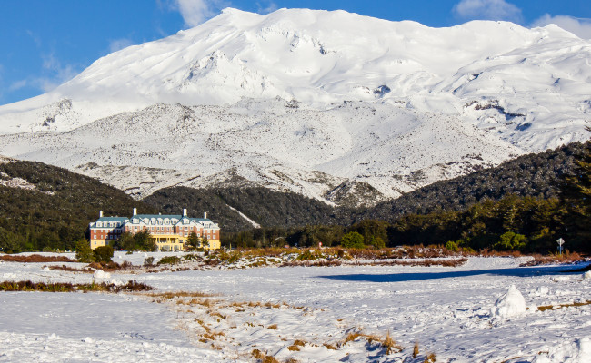 National Park Chateau Tongoriro in the snow