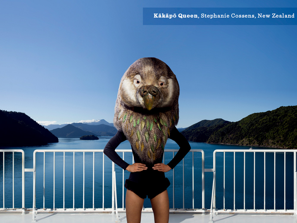 Stephanie Cossen's Kakapo Queen on stage in the Marlborough Sounds