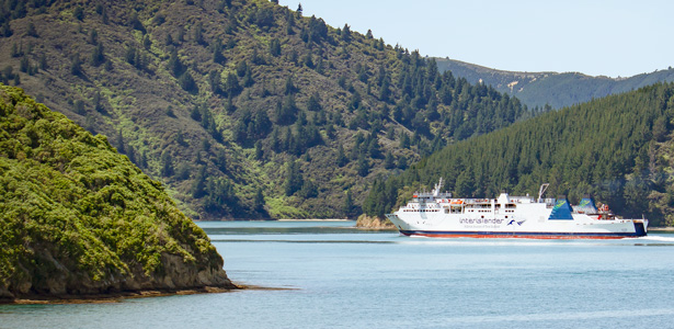 Interislander Aratere in the hills of Tory Channel 615x300