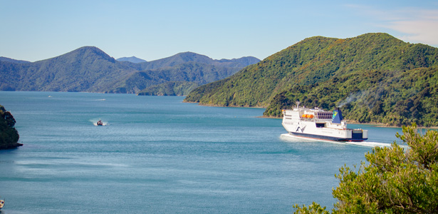 Interislander Kaitaki leaving Picton on the Queen Charlotte Sound 615x300
