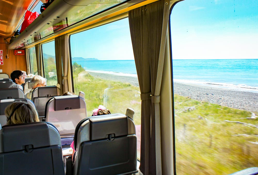 Relaxing in the Coastal Pacific Scenic Class carriage