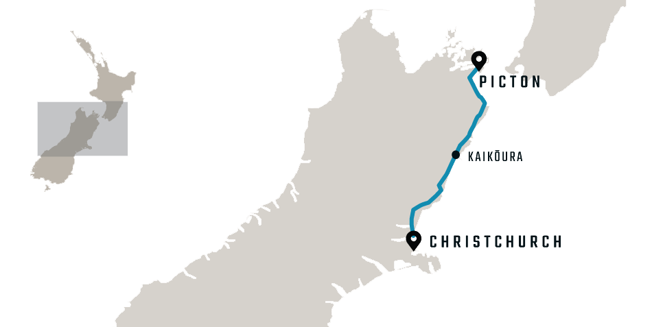 map of the Coastal Pacific Christchurch to Picton train