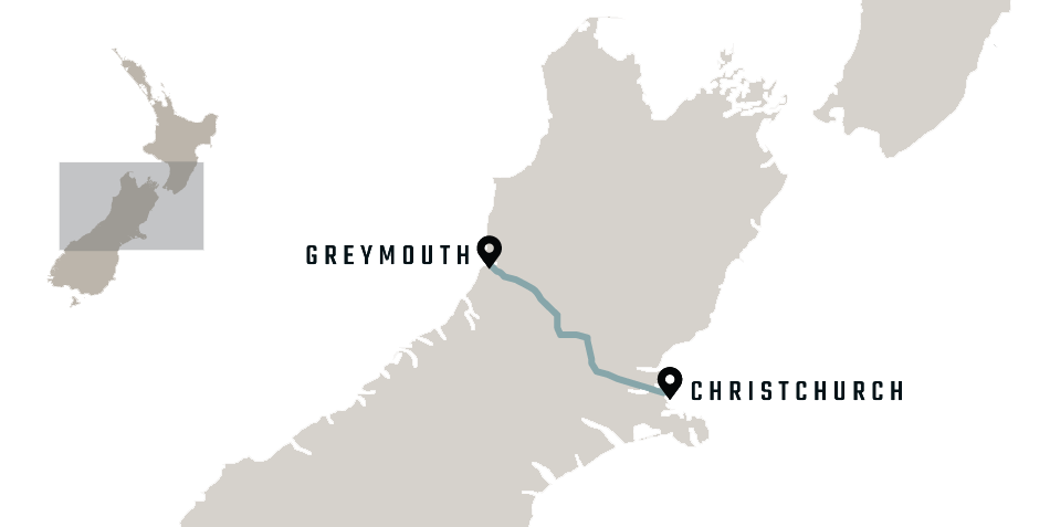 map of the TranzAlpine Christchurch to Greymouth train