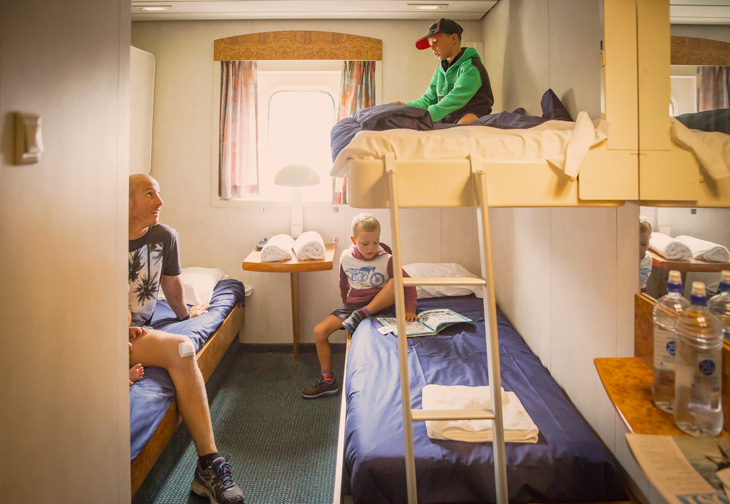 Our cosy Interislander cabins are a great space for families to make camp