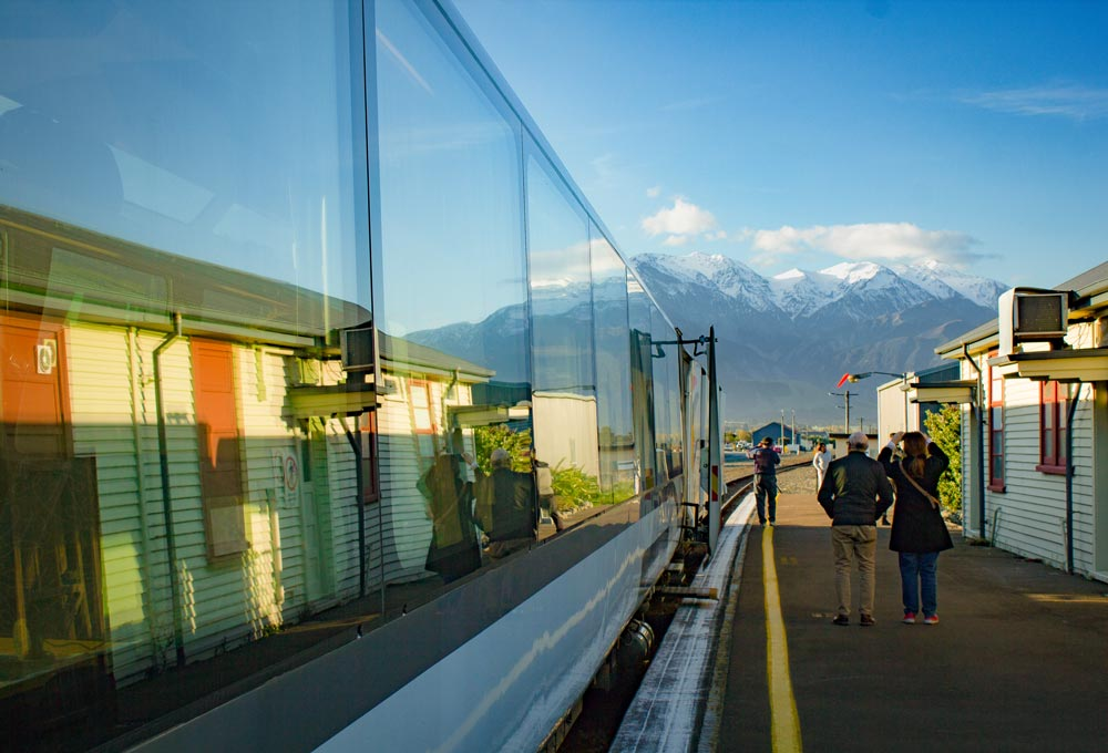 Standing on the platform at Kaikoura Railway Station
